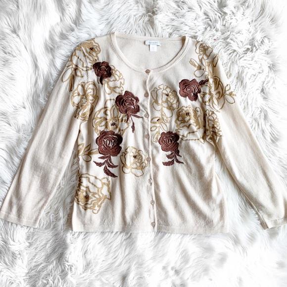 Garnet Hill Floral Merino Wool Cardigan
